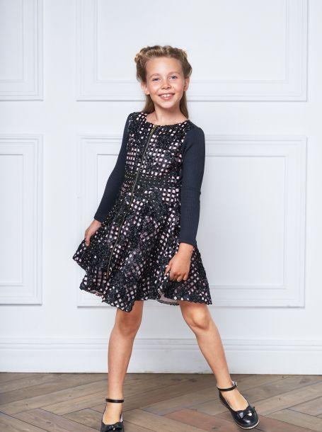Платье нарядное с многоярусной юбкой и декоративной тесьмой, для девочки