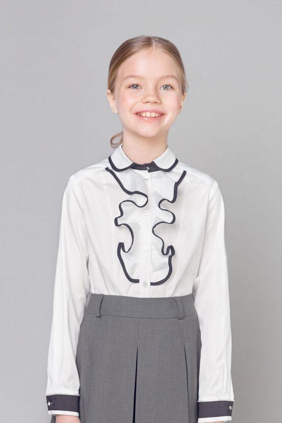 Блузка нарядная «Премиум» с контрастной отделкой и съемным галстуком, белая
