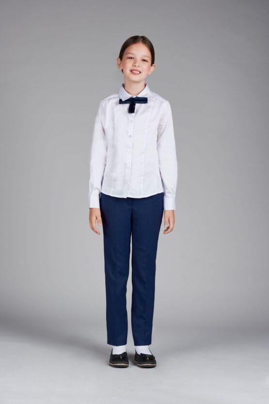 Блузка классическая со съемным галстуком, белая