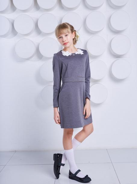 Платье трикотажное с цветами для девочки