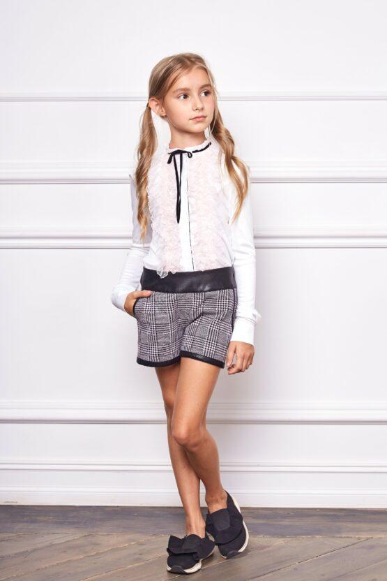Блуза комбинированная с рюшами