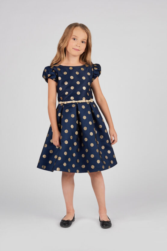 Платье нарядное с золотым горохом