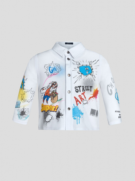 Сорочка трикотажная с принтом СТРИТ АРТ, белый