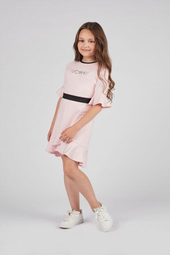 Платье с воланами и принтом, розовый