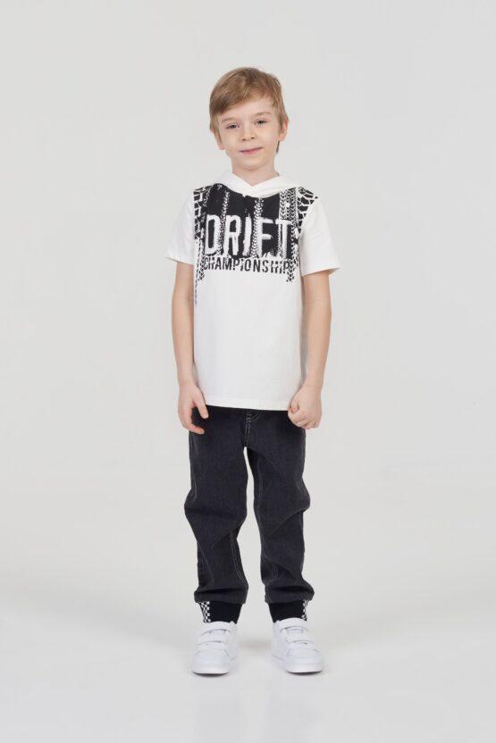 Джемпер-футболка свободного кроя с капюшоном и принтом