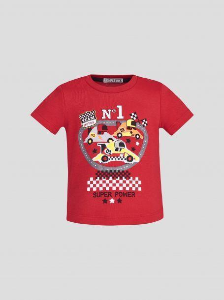 Джемпер-футболка с принтом и декором