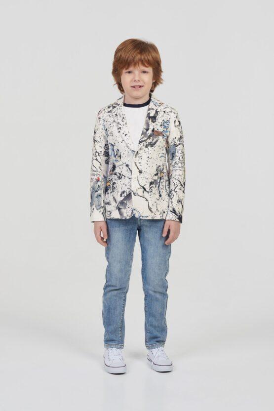 Пиджак мягкий, фирменный принт