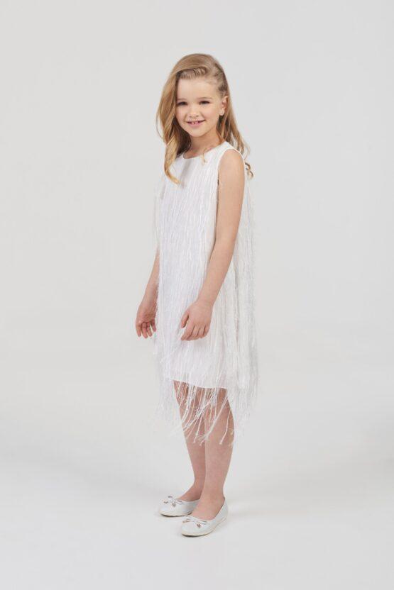 Платье нарядное из шифона с бахромой