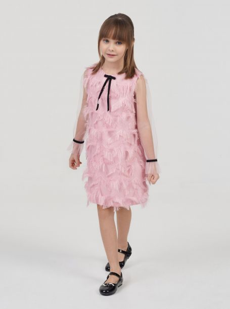 Платье нарядное, розовый с серебром