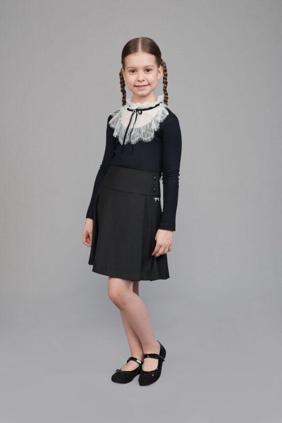 Блуза трикотажная комбинированная с кружевом