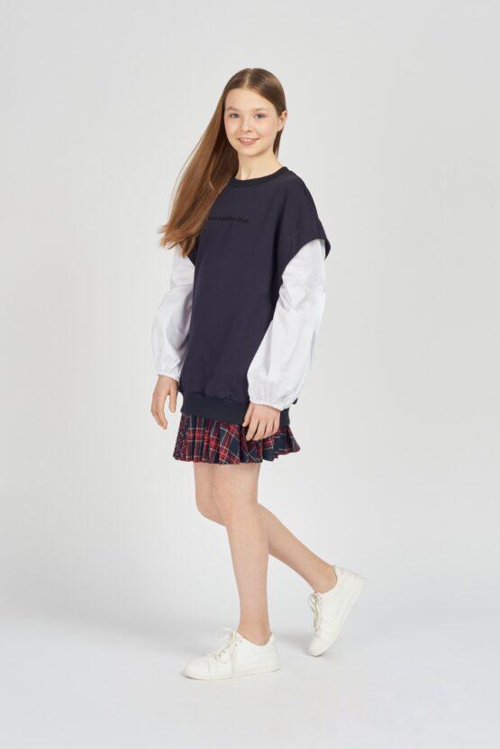Блузка комбинированная с пышными рукавами, темно-синий, белый